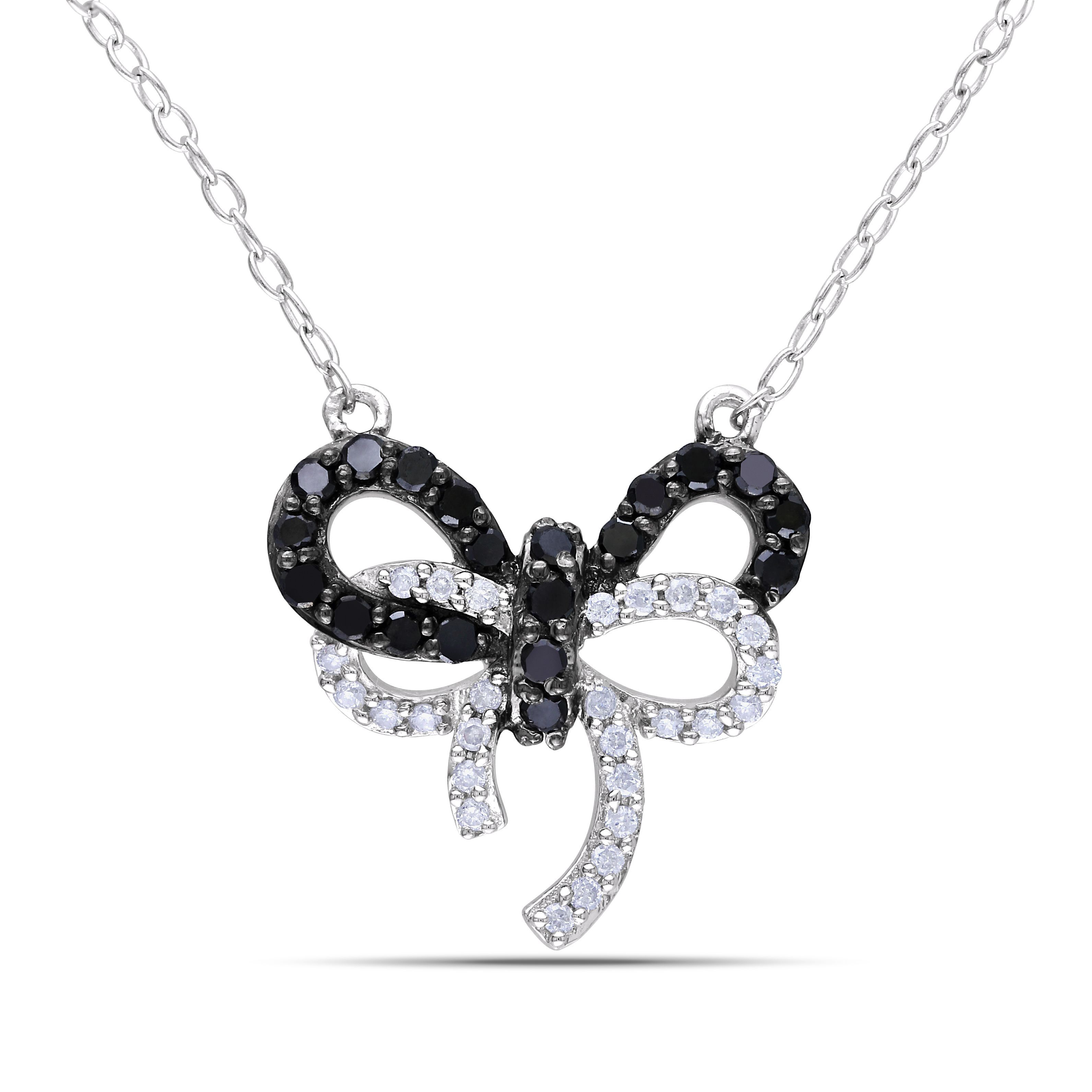 Miadora sterling silver ct tdw black and diamond bow necklace