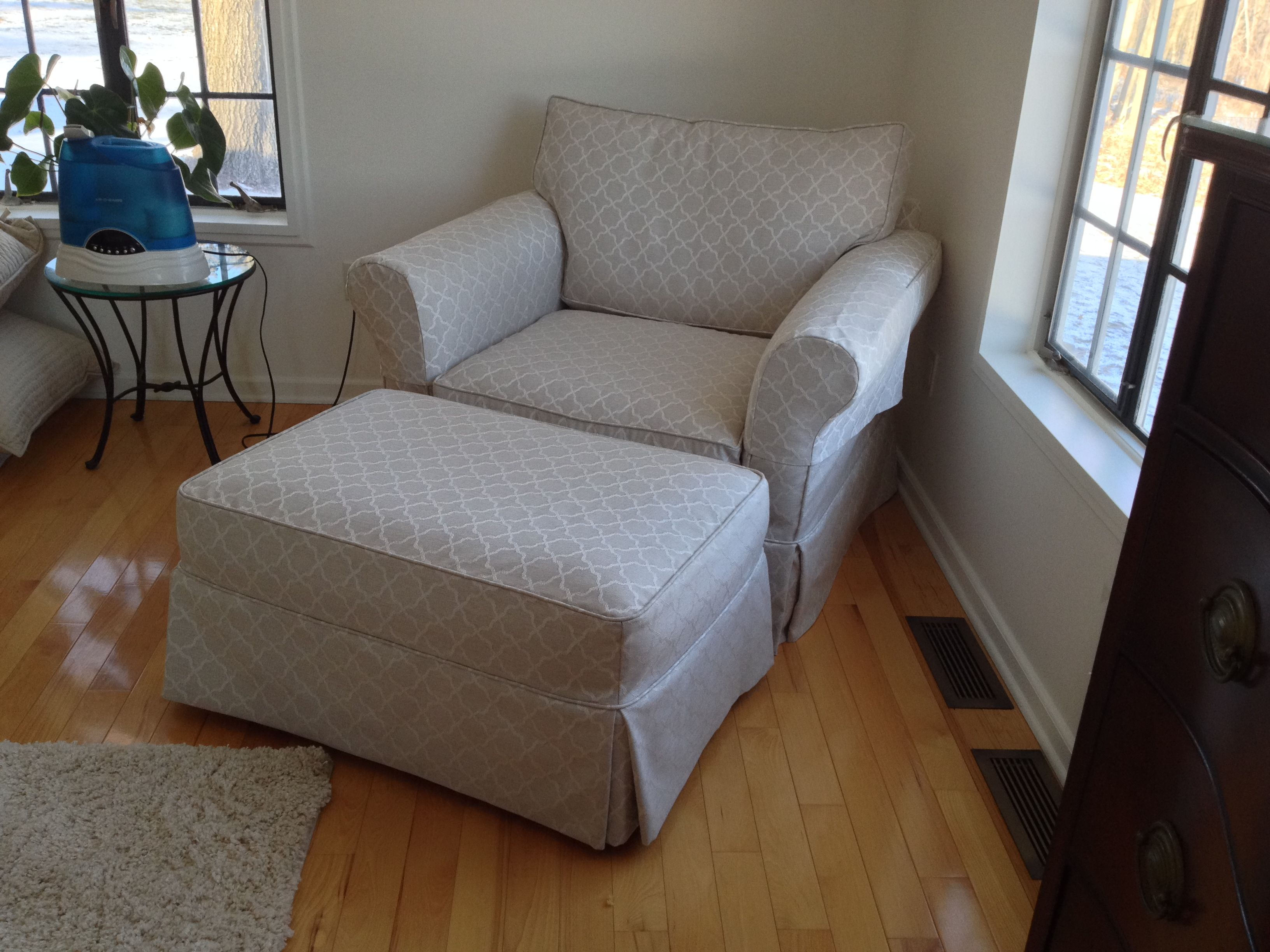 Club chair slipcover, arm covers and ottoman for a client\'s ...