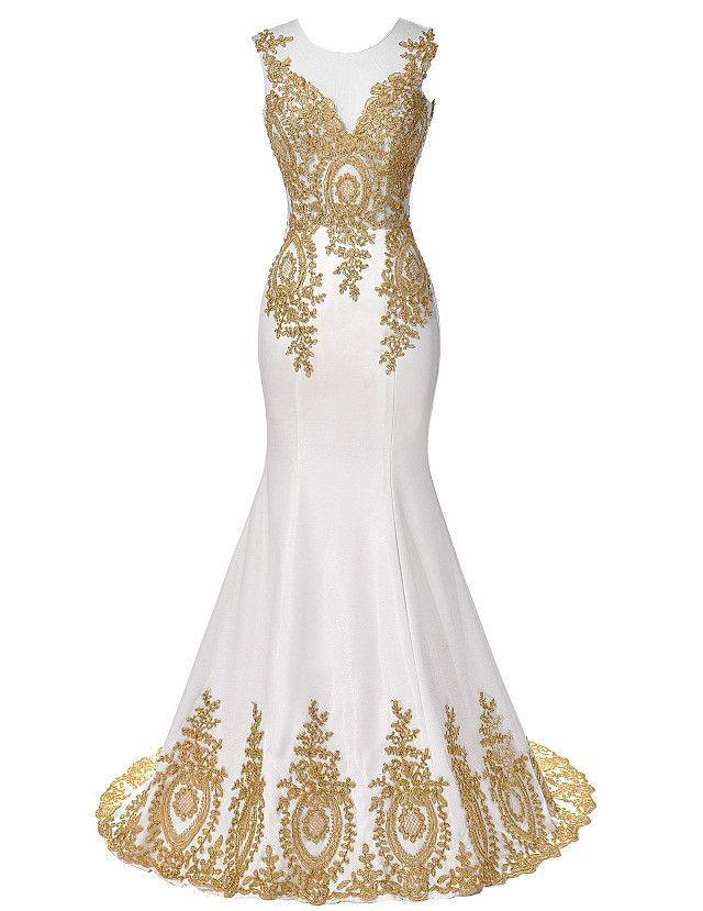 Blue Red White Black Mermaid Prom Dresses Grace Karin Luxury Gold