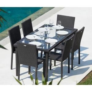 salon de jardin arcachon ensemble table de jardin 6 places acier e - Ensemble Table Jardin