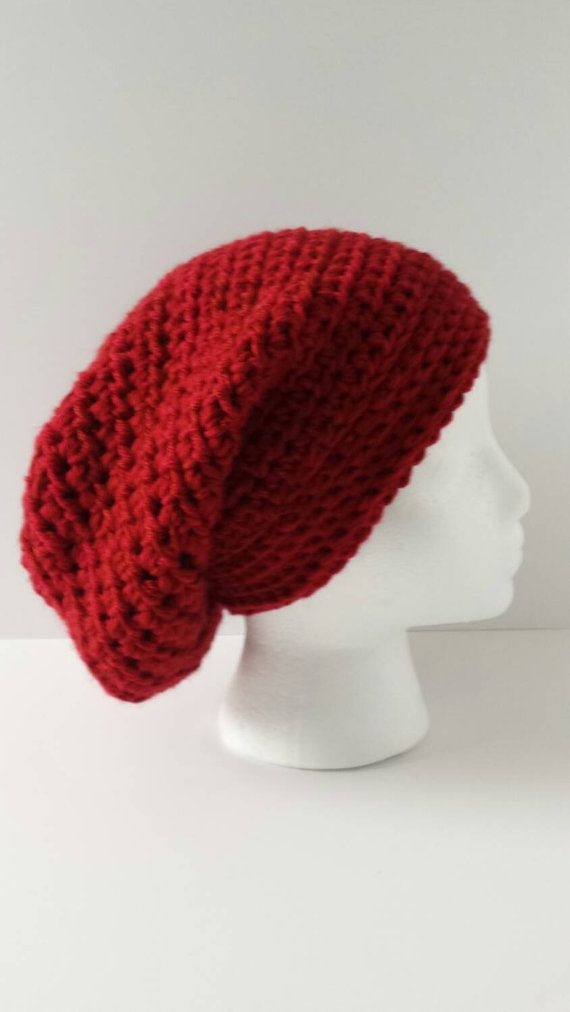 Check out this item in my Etsy shop https://www.etsy.com/listing/219572847/crochet-slouchy-hat-in-red