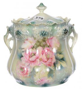 """7"""" RSP THISTLE MOLD TWO HANDLE CRACKER JAR"""