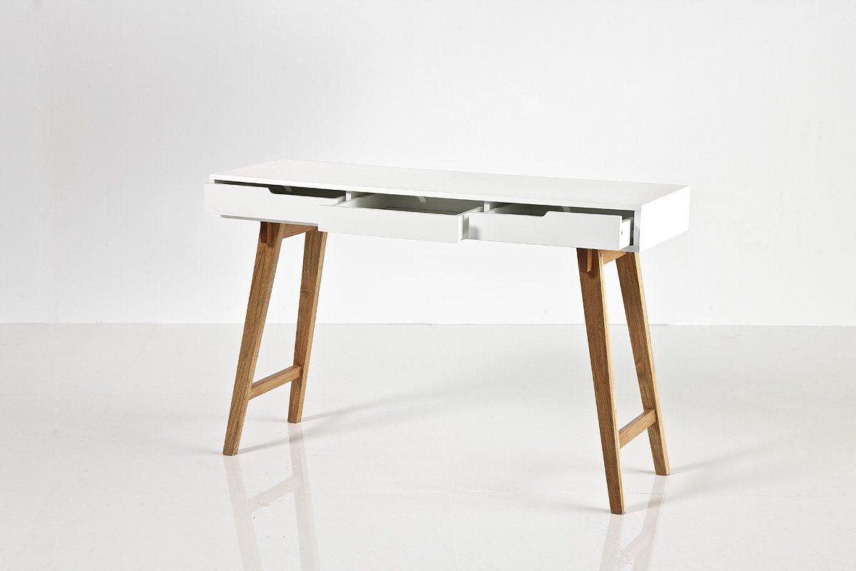 Eckschreibtisch weiß matt  Schreibtisch 120 cm, Matt Weiß mit Beine Massivholz: Amazon.de ...
