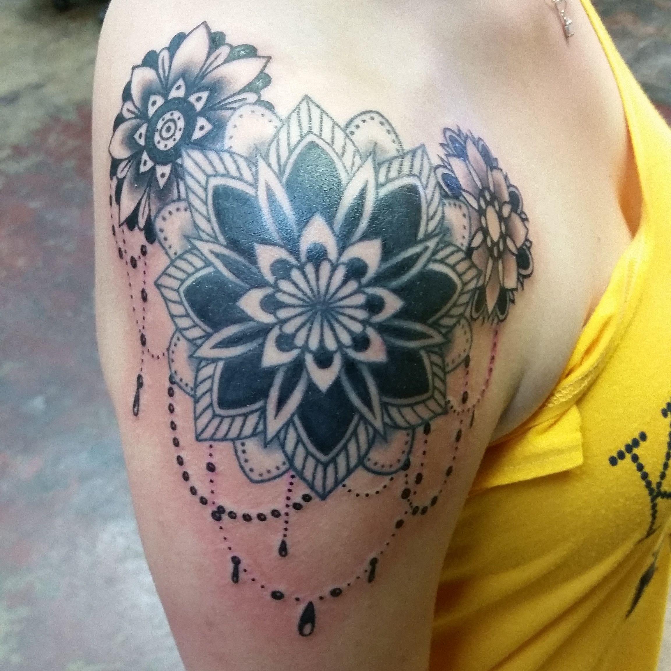 Finished mandala shoulder wrap by margot eulogy tattoo