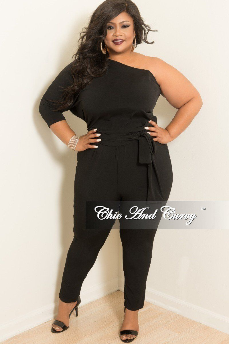 965349bba9c3 Plus Size One Sided Jumpsuit with 3 4 Sleeves and Attached Tie – Chic And  Curvy