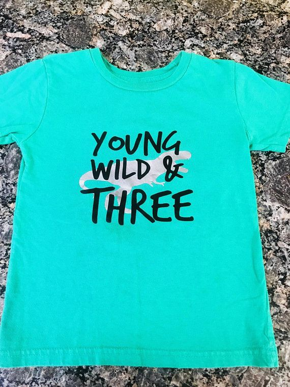 Young Wild And Three Dinasour Third 3rd Birthday Shirt