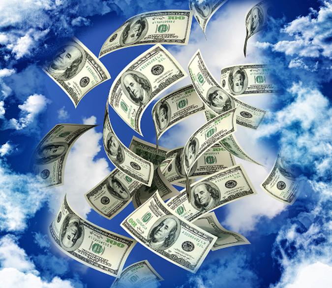3D Flying Money Floor Mural AJ Wallpaper