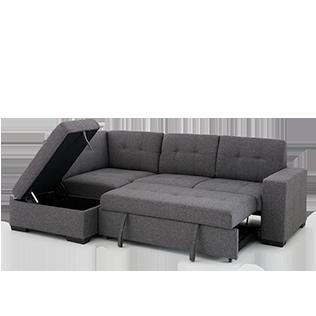 1549 00 Sofa Lit Sectionnel En Tissu Gris Avec Pouf Economax Sectional Couch Home Decor Couch