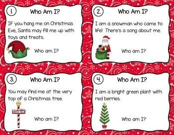 Christmas Riddles.Christmas Riddles Task Cards Who Am I Read And Write The