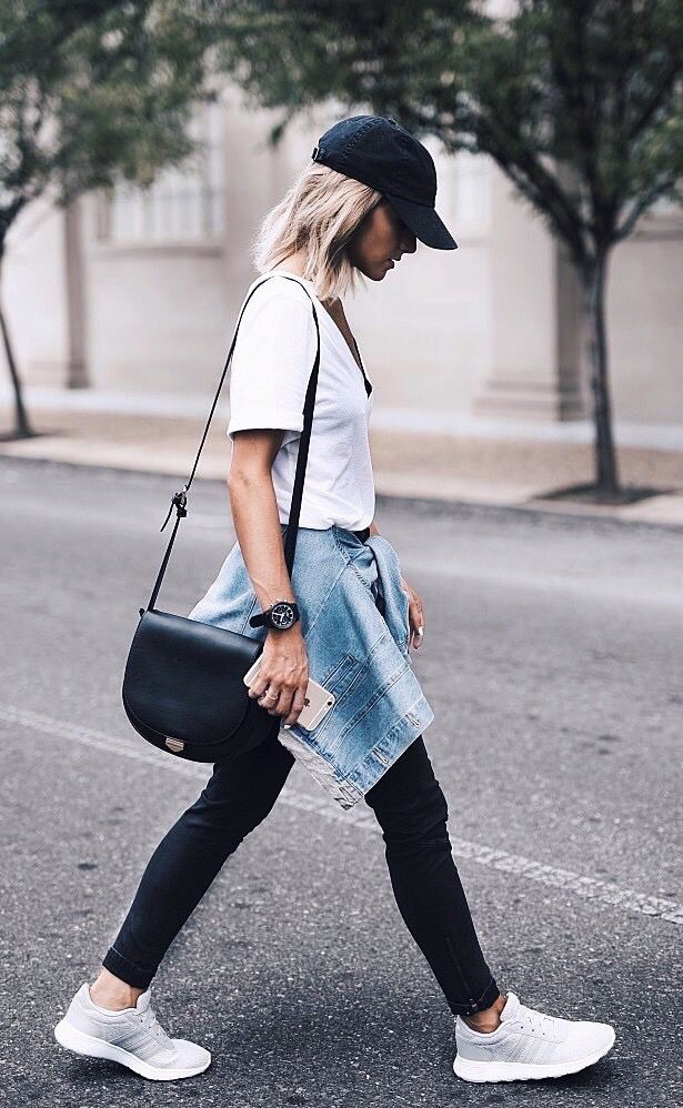 f0e86123901 Womens fashion | fall | style | fashion | outfit | street style | adidas |  kicks | hat | denim | jacket | casual | hair | blonde Instagram: @joandkemp
