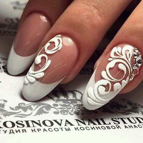 Bridal white flower French manicure