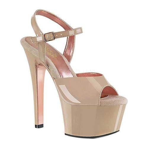 Pleaser Aspire 609TT Ankle Strap Sandal | Rose gold heels
