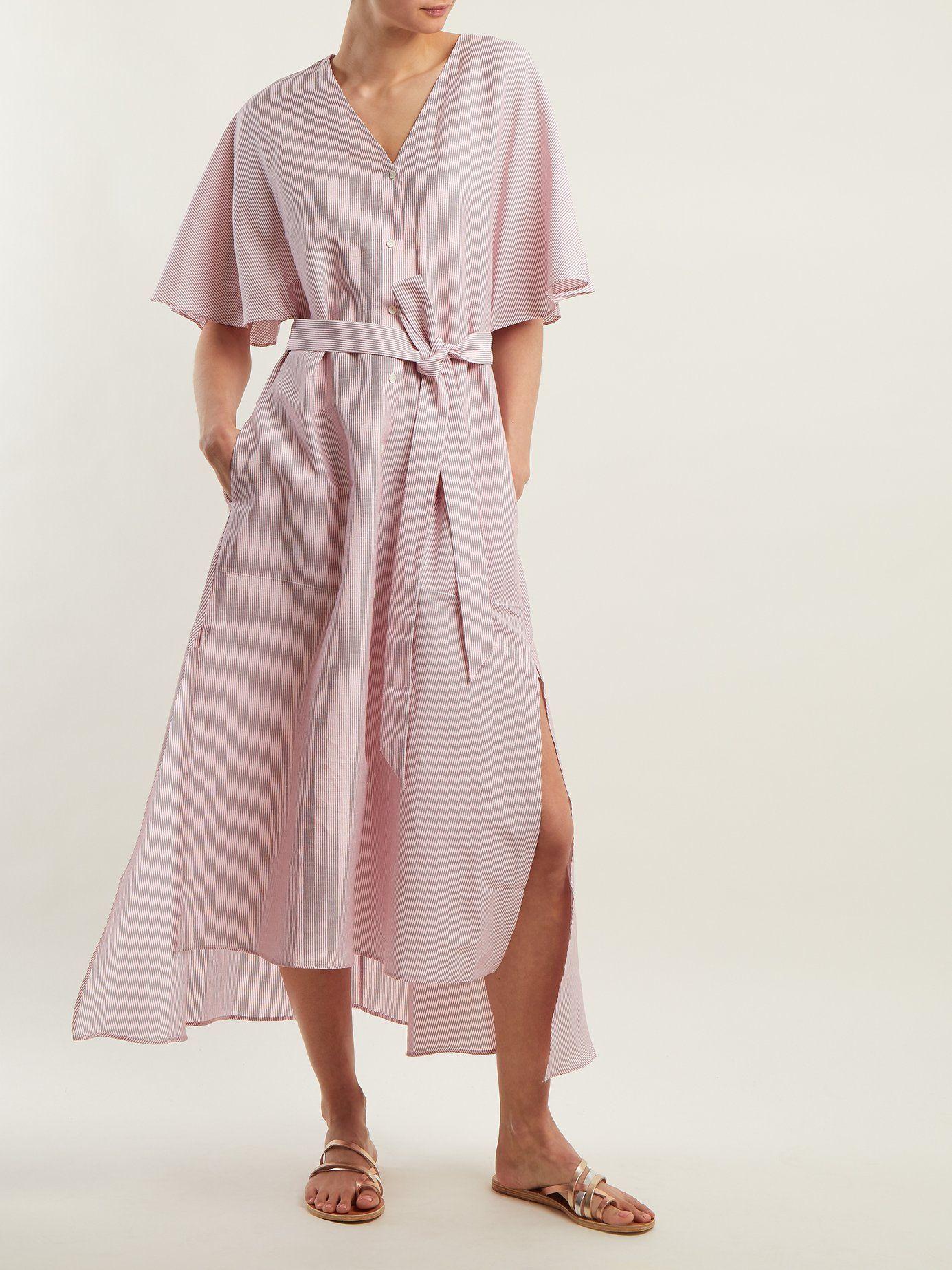 Striped linen and cotton-blend dress Palmer//harding TzeeESBds