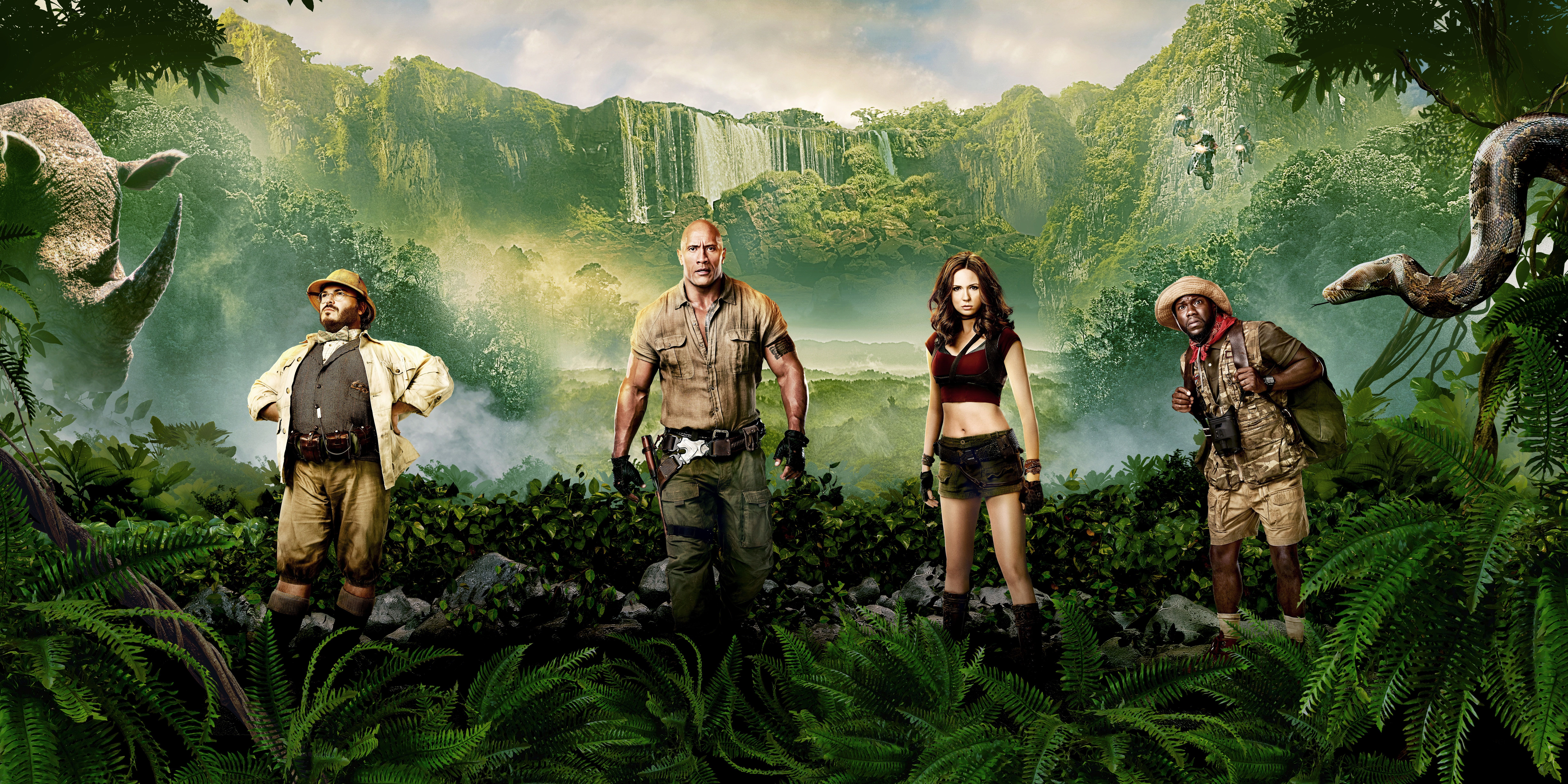 Girl Action Jungle Fantasy Beautiful Wood The Snake Men Female Family Year Waterfall Woman Dwayn Welcome To The Jungle Movie Wallpapers Hd Movies