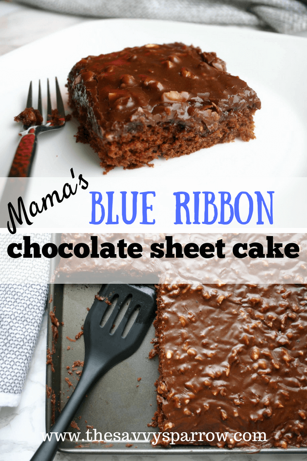 Mamas Blue Ribbon Chocolate Sheet Cake