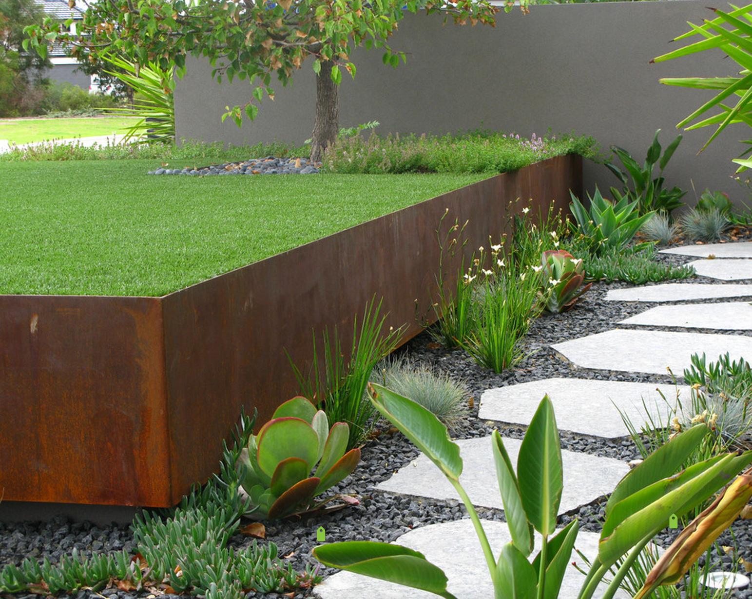 Rust Retaining Wall  Modern landscaping, Landscape design, Modern