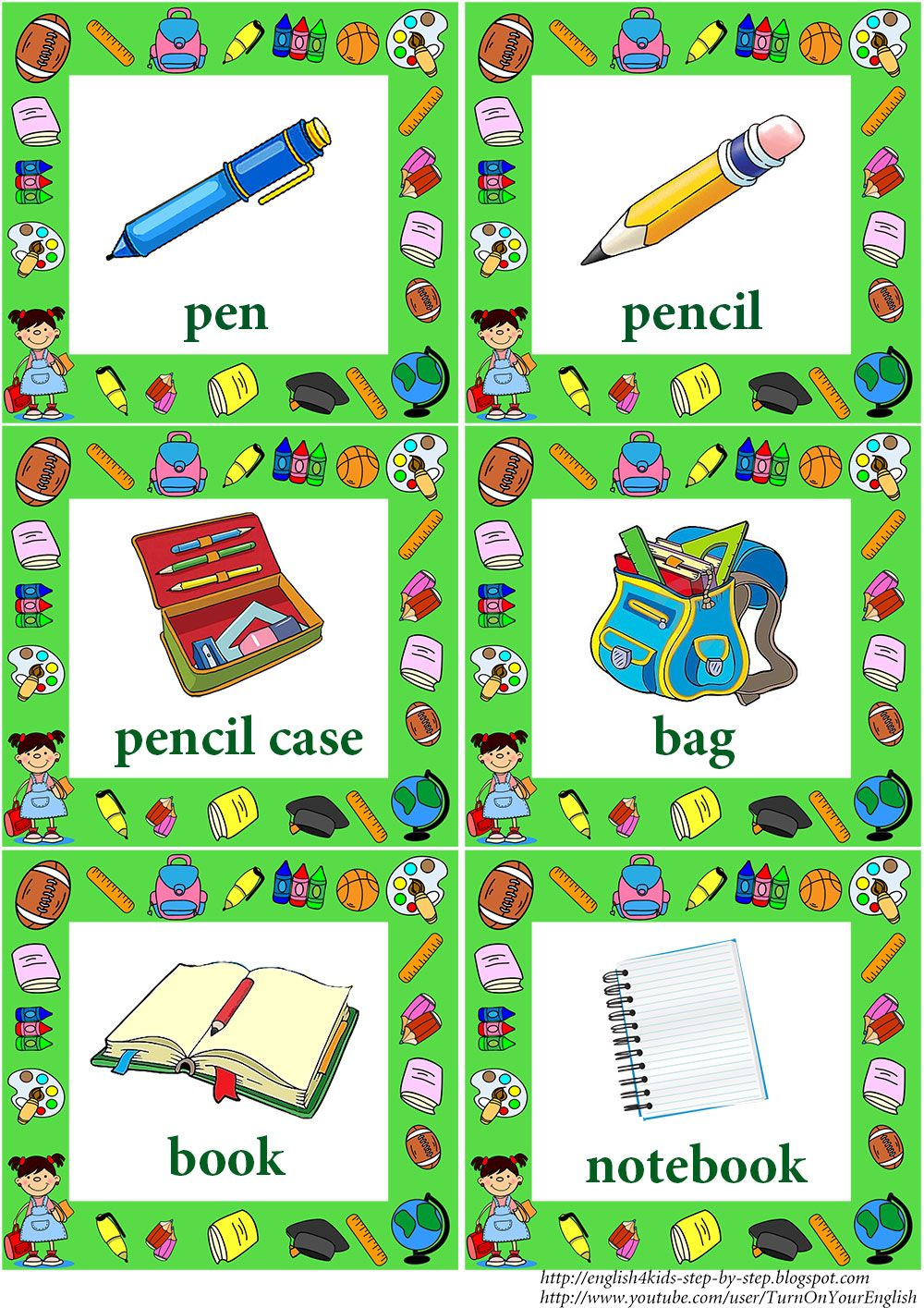 school vocabulary flashcards with words | School Life Songs and ...