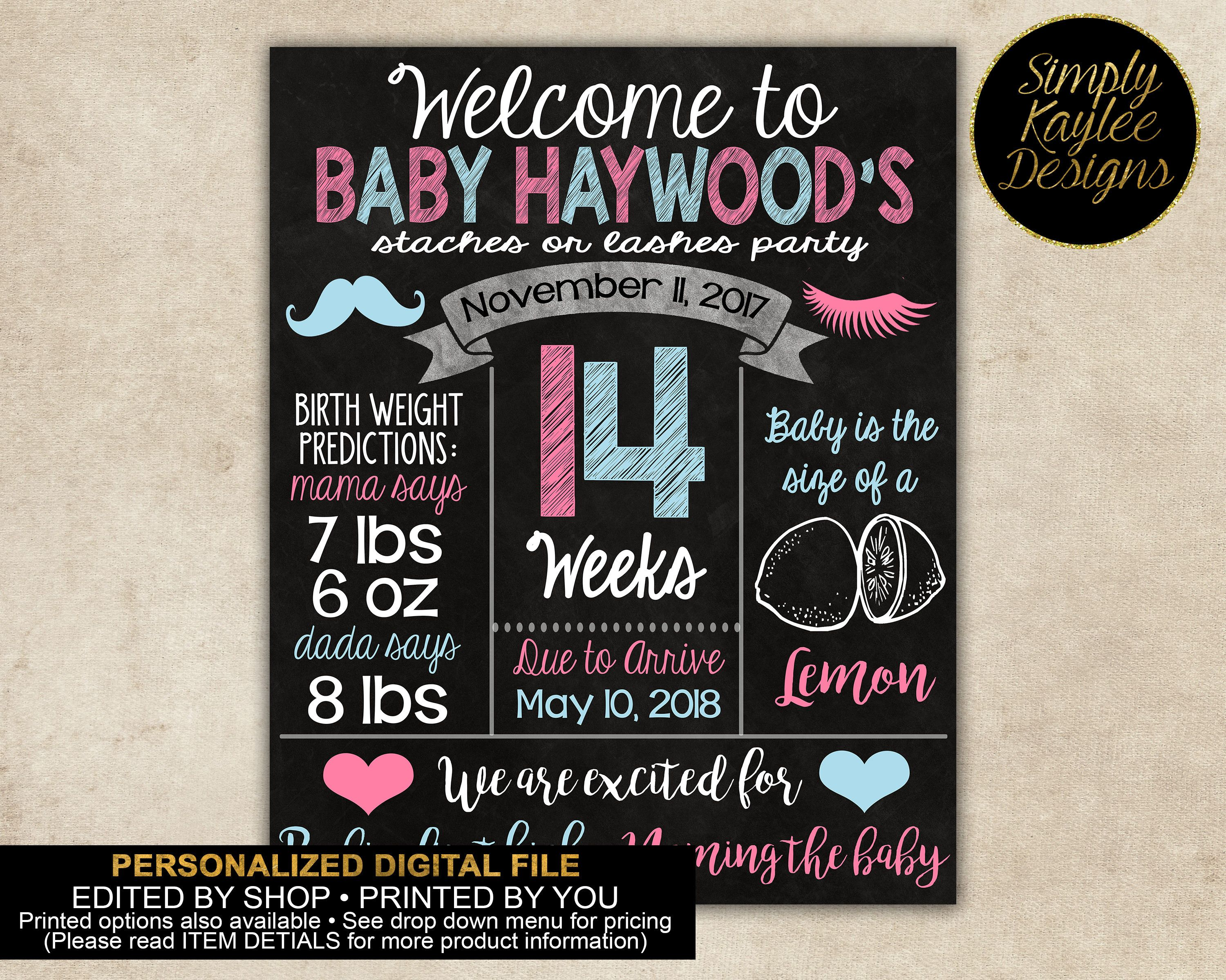 Mustaches and Lashes Gender Reveal Pregnancy Sign by