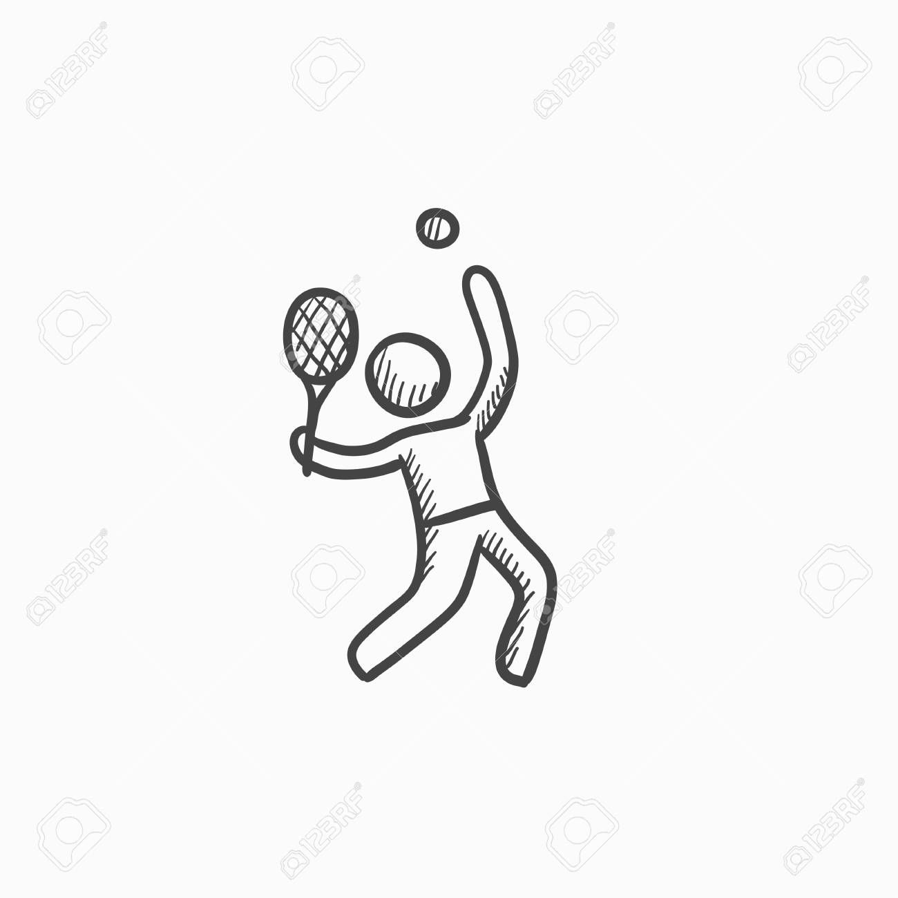 Man Playing Big Tennis Vector Sketch Icon Isolated On Background Hand Drawn Man Playing Big Tennis Icon Man Playing Big Tennis Sketch Icon For Tennis Tekenen