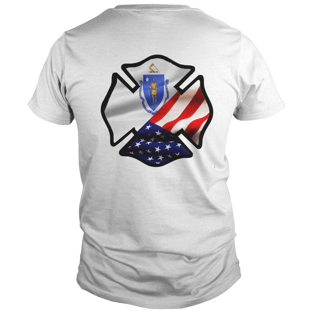 Firefighter Massachusetts US Flag Maltese Cross
