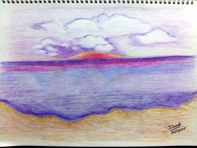 Sunrise Colored Pencil Drawing
