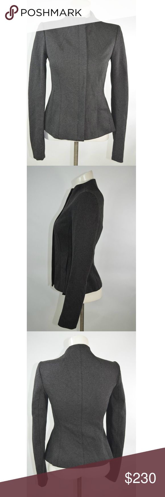 3287340450 Theory Jacket in Dark Grey Size Small S NEW Theory Knit Twill Sculpted  Jacket in Dark