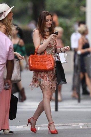 Blair Waldorf Dress: Oscar De La Renta Shoes: Christian Louboutin Bag:  Nancy Gonzales