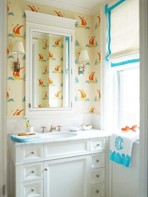 Bathroom featuring Katie Ridder Beetlecat Wallpaper in Cream Apricot (comes  in 4 colors) 136be9339b