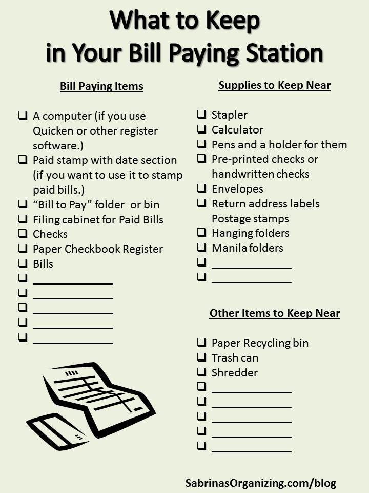 What to Keep in Your Bill Paying Station Organizing - bill receipt