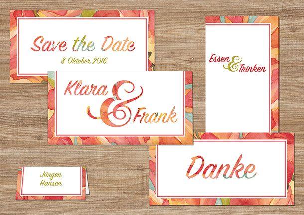 Vorgefertigtes Hochzeitsdesign Herbst. Modern, trendy, Aquarell, rot grün