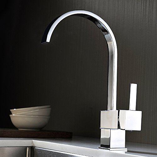 Homelody® Chrom Wasserhahn Quadratisch Armatur Küchenarma   - armatur küche ausziehbar