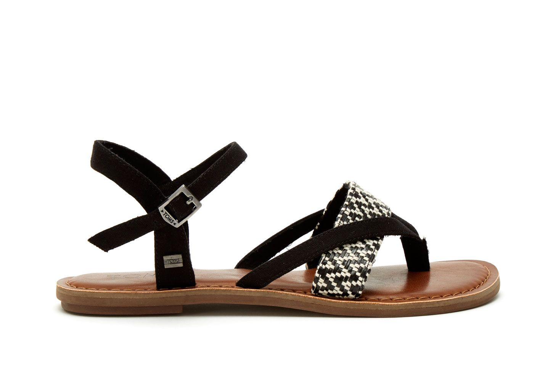 Black, White Black White Woven Women's Lexie Sandals