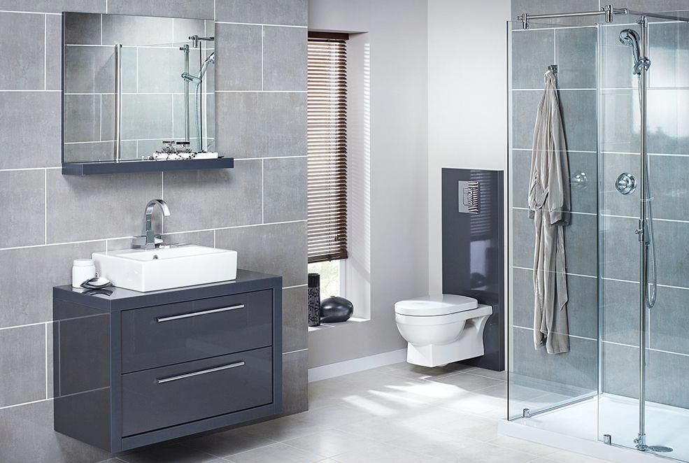 A Contemporary Feel Is Given To Midnight Grey Gloss Double Drawers By Framing Them With S Small Bathroom Furniture Fitted Bathroom Furniture Modular Bathrooms Heritage sonic square bathroom design