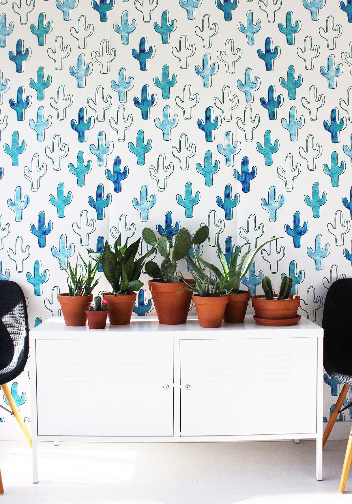The Plains A Bold Blue Cactus Wallpaper Print Milton King Interior Wallpaper Plain Wallpaper Desert Decor