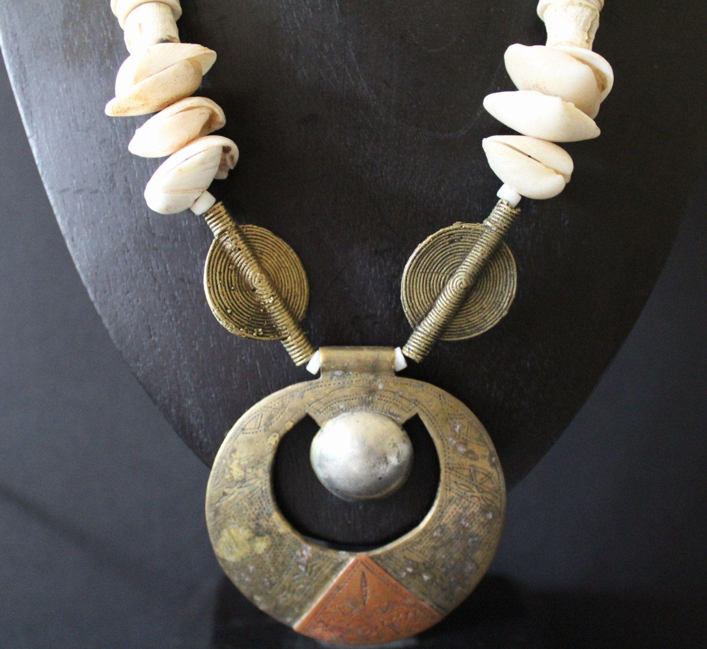 Old tuareg tribal pendant artisan inspired jewelry with african old tuareg tribal pendant artisan inspired jewelry with african shells bronze charm beads mozeypictures Images