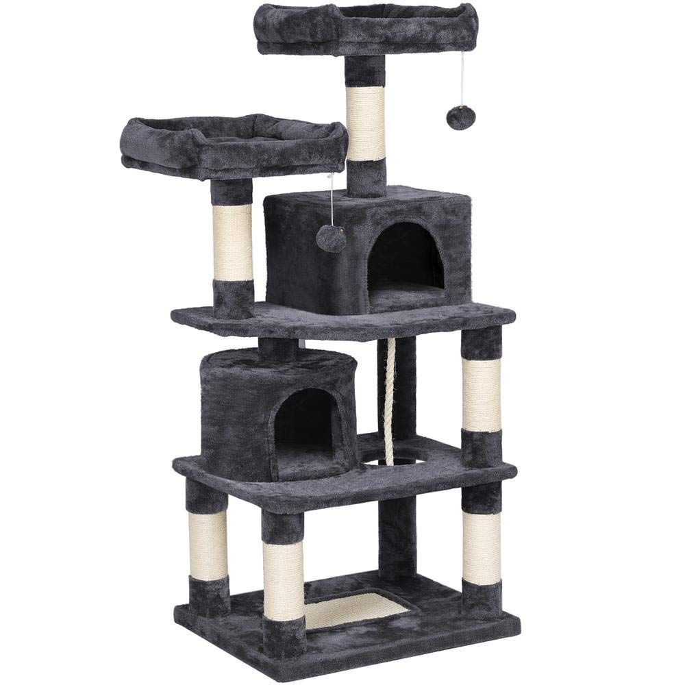 Yaheetech Cat Tree Condo Kitten Tower Play House With A Extra Large Scratching Board Cozy Perches 57in Details Can Cat Tree Condo Cool Cat Trees Cat Tree