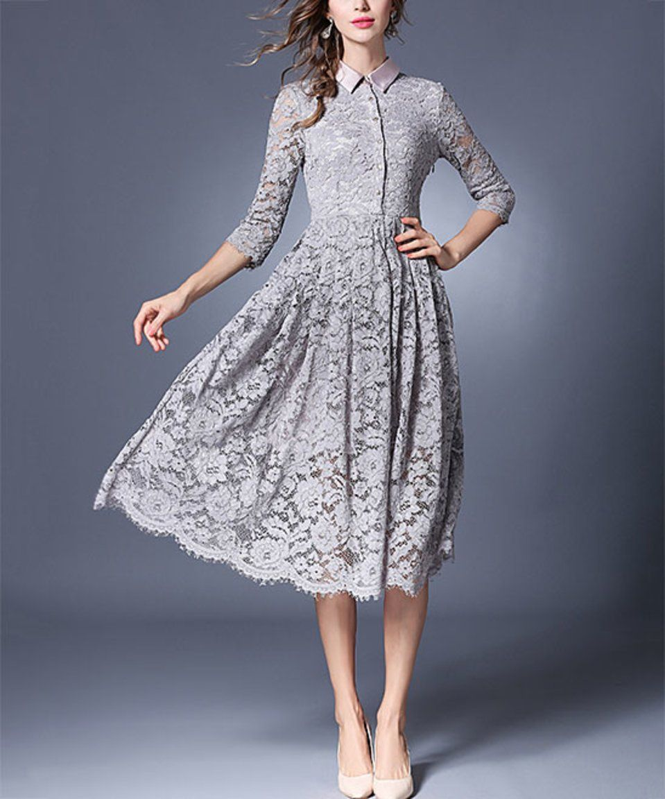 Take a look at this Coeur de Vague Gray Lace Shirt Dress today!