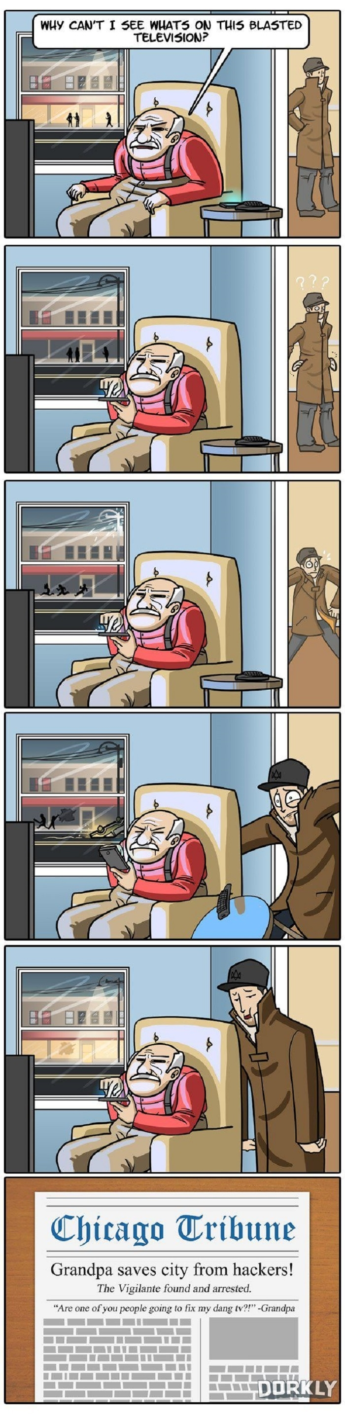 Grandpa Saves The City Watch Dogs Dork Best Funny Pictures