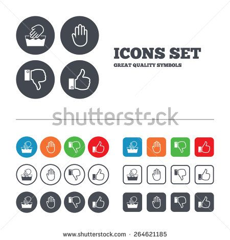 Hand Icons Like And Dislike Thumb Up Symbols Not Machine Washable