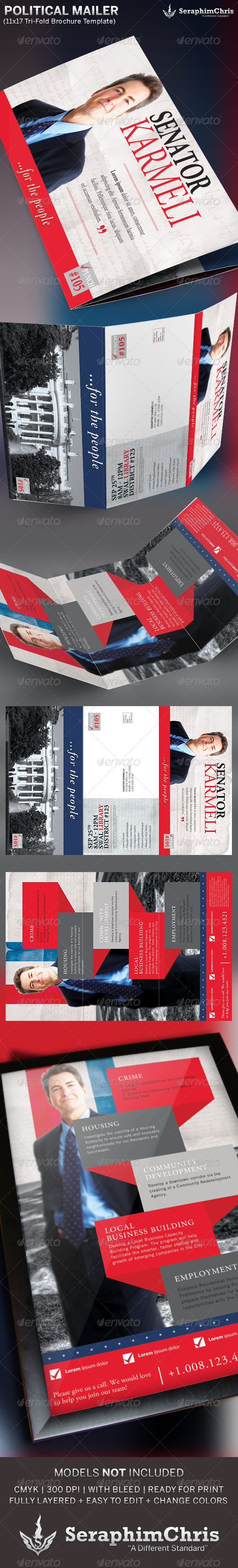 large political tri fold brochure mailer template corporate