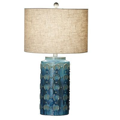 """CBK Circle Reactive Glaze 27"""" H Table Lamp with Drum Shade (Set of 2)"""