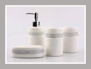 Delicieux Ceramic Bathroom Sets: JustNile 4 Piece Bathroom Accessory Set U2013 Elegant  Ceramic White With