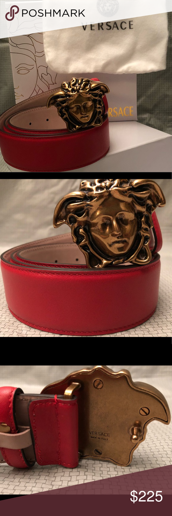 60878418d9cf Red Palazzo Versace Belt 100% Leather Belt Iconic Gold Medusa Buckle Men s  size 30-32 Versace Accessories Belts