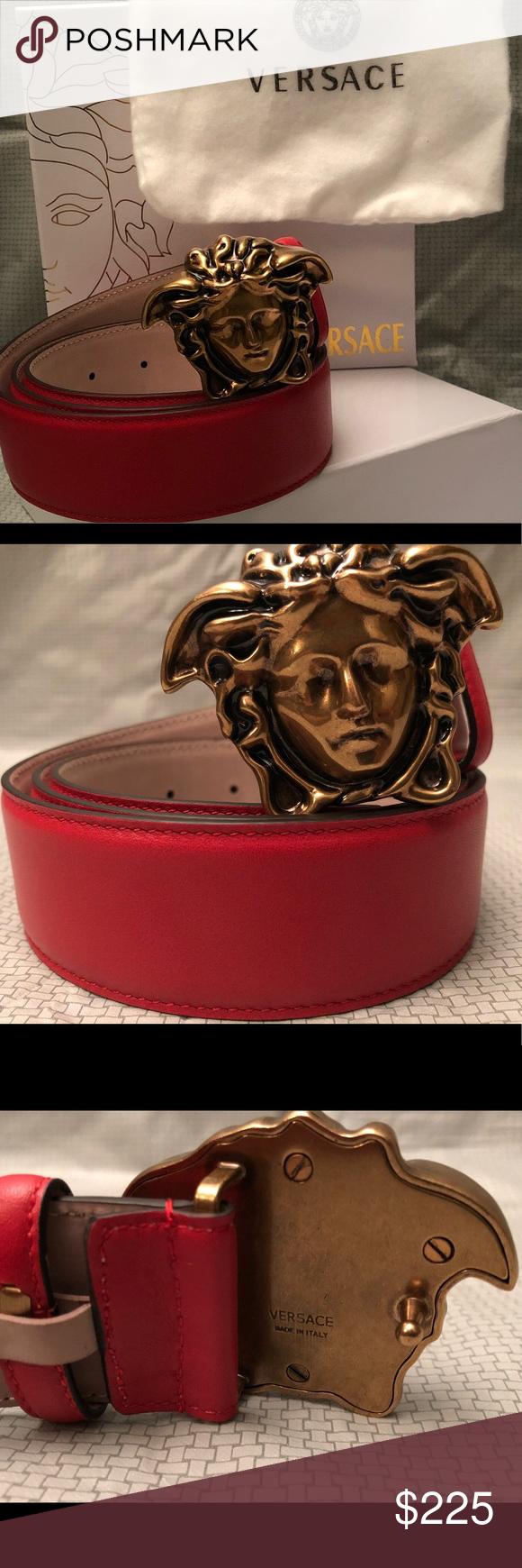 60878418d9cf Red Palazzo Versace Belt 100% Leather Belt Iconic Gold Medusa Buckle Men s  size 30-32 Versace Accessories Belts