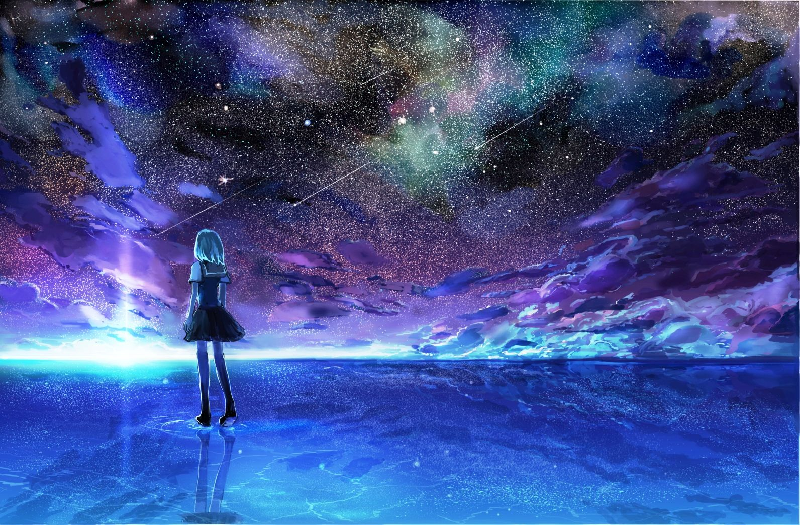 Anime Starry Night Sky Wallpapers Hd Resolution For Free