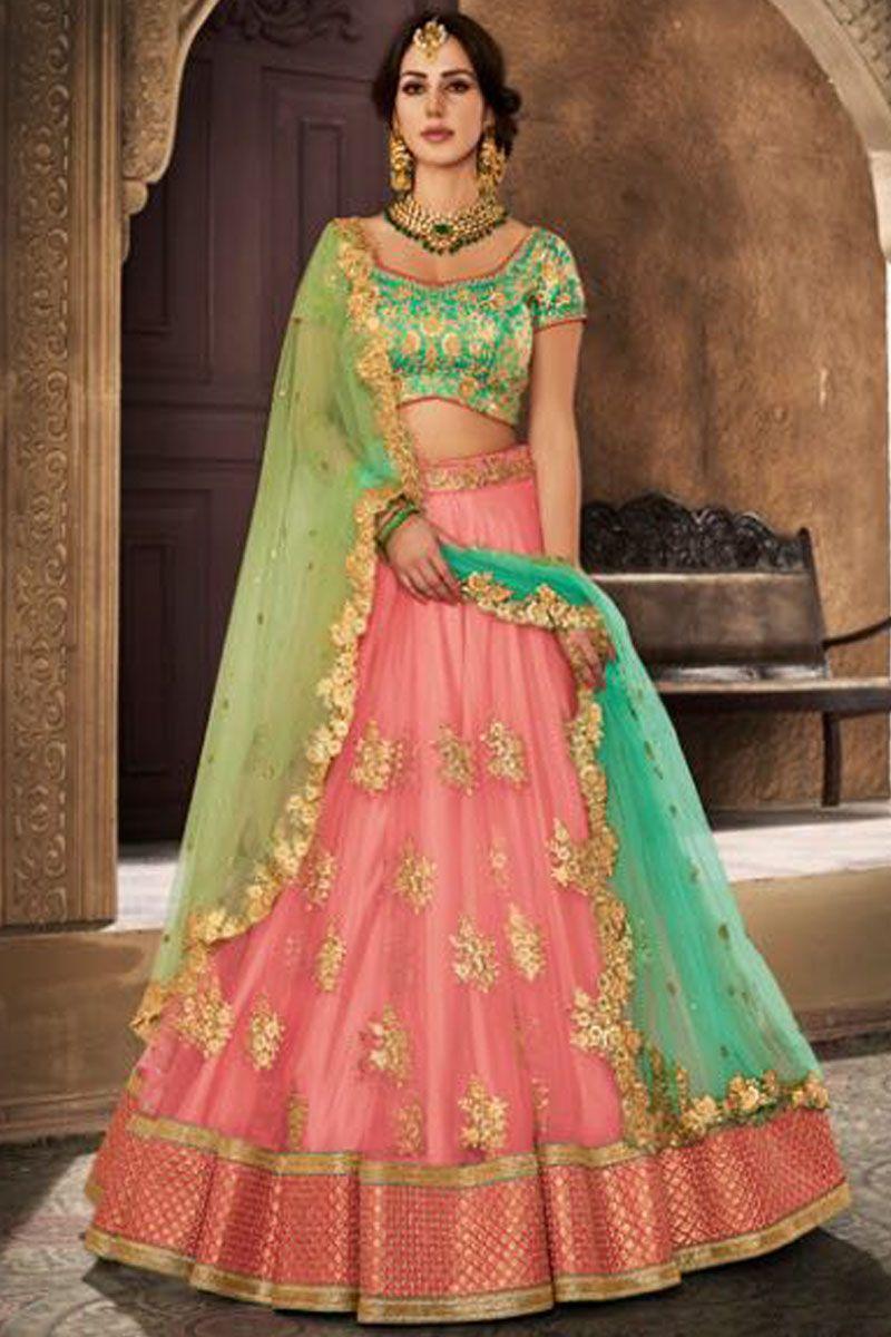0b5a368a3c Peach Color Mono Net Fabric Beautiful Embroidery Work Indian Wedding Style  Festival Wear Party Wear Look Traditional Lehenga Choli #nakkashiethnic ...