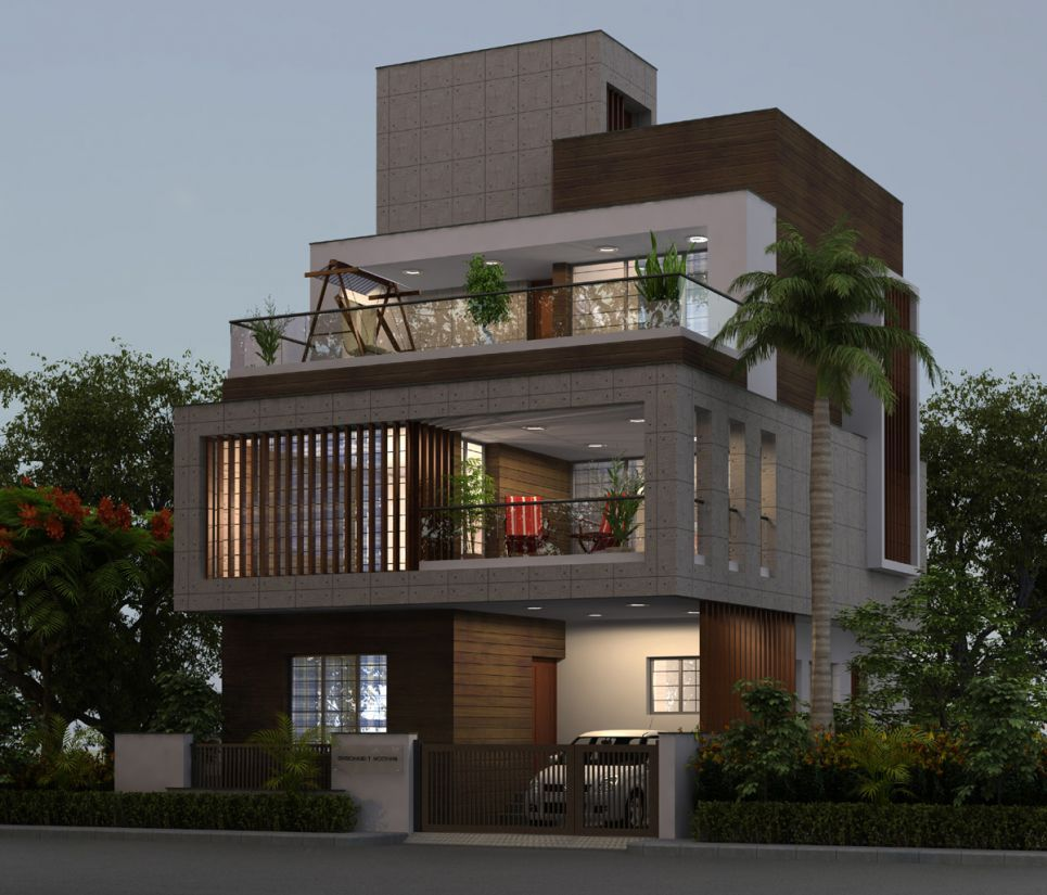 Modern indian bungalow elevation for Architecture house design ideas