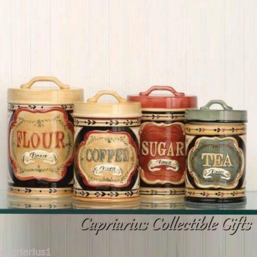 Elegant Country Canister Set Of 4 Flour Sugar Coffee Tea Seale Lids New Ebay