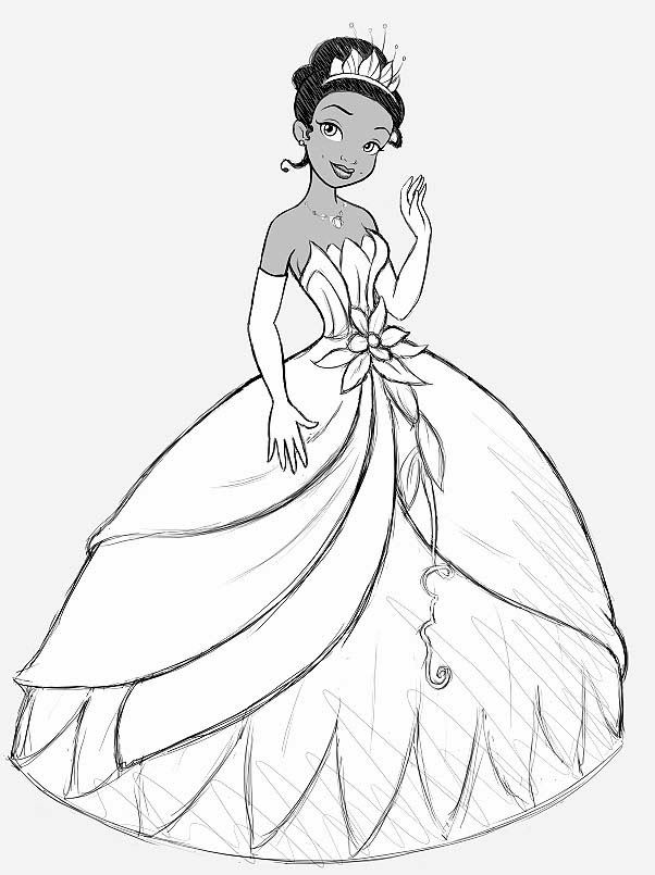 Coloring Pages Disney Princess And The Frog Beautiful Princess Tiana And The Fr Disney Princess Coloring Pages Princess Coloring Pages Disney Princess Colors