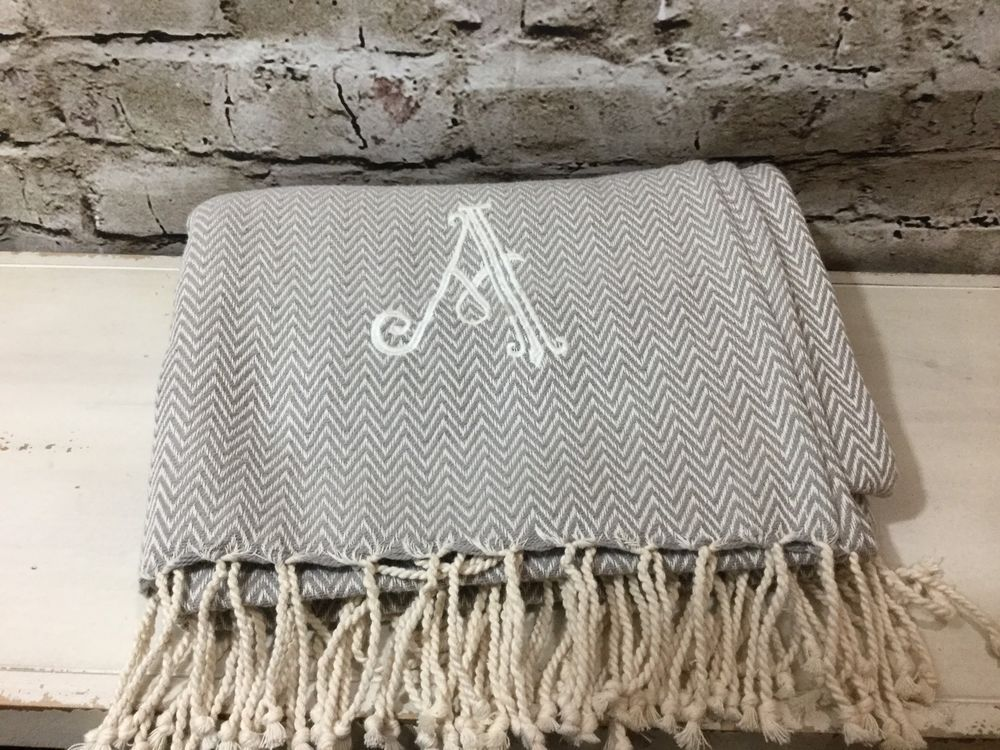 Mud Pie Herringbone Initial A Throw Blanket with Fringe Beautiful Home  Decor  55679c011
